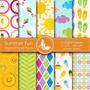 Kit Imprimible Pack Fondos Verano Sol Playa 4 Clipart