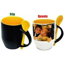 Caneca Mágica Amarela Personalizada. Fotos, Msg...
