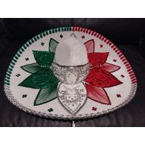Sombrero Charro Tricolor Blanco Adorno Mexico Septiembre 15