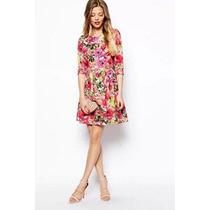 Suku 90847 Vestido Floreado Cuello Redondo Moda Japón $939