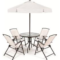 Conjunto Sombreiro, Mesa & Cadeiras Para Deck Piscina, Hotel