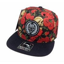 Boné Aba Reta Preta Camurça Black Bulls Snapback Floral Cap