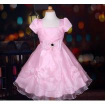 Vestido Infantil Festa Pink Ou Vinho, Preto, Azul Ou Rosa