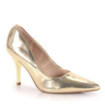 Sapato Scarpin Conforto Feminino Beira Rio - Dourado(a)