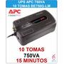 Ups Apc Be750g 750va 10 Tomas Backups Regulador De Voltaje