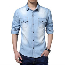 Camisa Jeans Slim Fit Social Casual Masculina