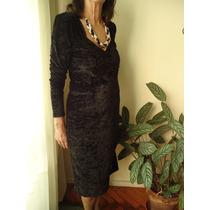 Vestido De Chifón Negro Talle 46