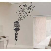 Adesivo Parede Microfone Notas Musicais Clave Sol Garantia
