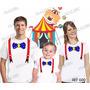 Camiseta Palhaço Circo Aniversario Personalizadas Kit 3 Uni