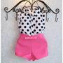 Conjunto Vestido Luxo Menina Infantil Bolinhas Regata+ Short