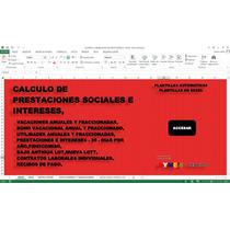 Calculo De Prestaciones Sociales,en Excel