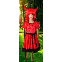 Disfraz Diablita Diabla + Peluca + Tridente Talles 4 Al 10