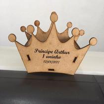 Coroa Príncipe Mdf Enfeite De Mesa Cachepô Com Letra