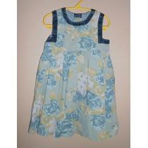 Baby Gap! Vestido De Pana Azul, Diseño Flores, Talla 2 Años