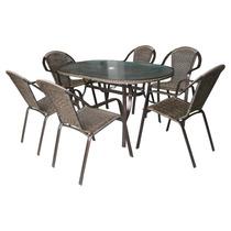 Conjunto Mesa Jardim Com 06 Cadeiras Aluminio Kalahari Mor