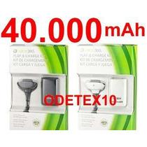 Bateria Carregador Controle Xbox 360 40.000mah +cabo + Forte