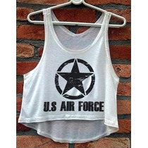 Blusa Us Air Force Navy Estados Unidos Cropped Feminino