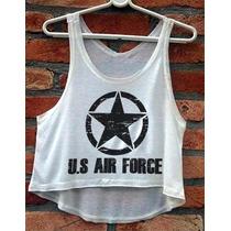Blusa Us Air Force Navy Estados Unidos Cropped Feminino