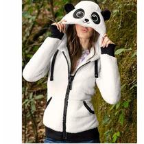 Sudadera Para Dama Oso Panda Chamarra Puños Tipo Guante