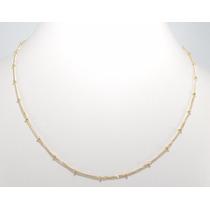 Cordão Feminino Grumet Com Bolinhas Ouro 18k 750 Gargantilha
