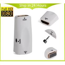 Adaptador Hdmi X Vga + Audio + Cabo Hdmi + P2 + Vga Brinde