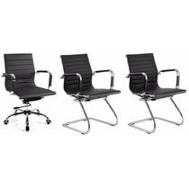 Kit 1 Cadeira Giratória Diretor+2 Fixas Charles Eames Marrom