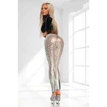 Leggings Plata 3d Metalicos Lencería Pole Table Dance Sexy