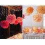 Flores De Papel De Seda Listas Para Armar Color Naranja X1
