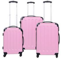 Set De 3 Maletas De Viaje Color Rosa Tapa Dura