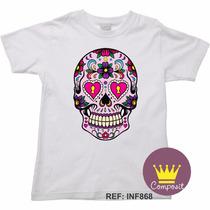 Camiseta Infantil Halloween Caveira Mexicana Cranio 01