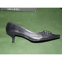 40%dcto Zapatos De Cuero Via Uno Mujer N°38 - Tb Permuta