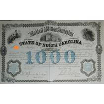 Bono U. S. A. - State Of North Carolina, 6%, $1,000, 1869