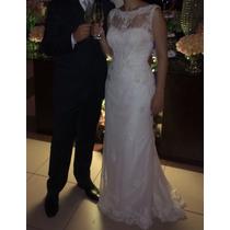 Vestido De Noiva Usado Renda Lusan Mandongus