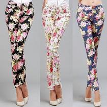 Pantalones Jeans Leggins Flores Moda Japonesa