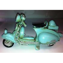 Miniatura Metal Artesanal Retro Moto Vespa Lambreta Azul