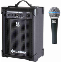 Caixa Amplificada Ll Lx40 10w+ Microfone Jwl Ba58 Como Shure