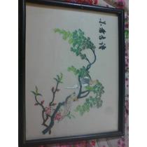 Precioso Cuadro. Bordado En Seda, Japonés. Motivo Pericos