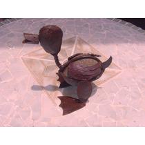 Hermosa Figura De Pato De Piedra Y Metal. Estilo Antiguo.