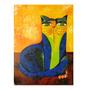 Quadro Pintura Em Tela - Gato Azul - Aldemir Martins