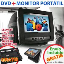 Dvd + Monitor Portatil Para Auto 7 Doble Pantalla