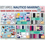 1 Kit Imprimible X 6 Sets Nautico Marino Mar Sogas Barcos X6