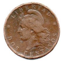 Moneda Argentina 2 Centavos De Patacón Año 1882.muy Difícil