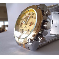 Relogio Masculino Esportivo Modelo Ef-550 Racing Dourado