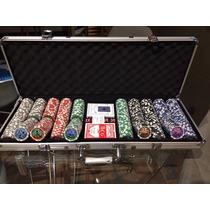 Maleta De Poker 500 Fichas Numeradas Holográficas Oficial