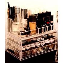 Organizador Porta Maquiagem Pincel Batom Acrilico 3 Gavetas