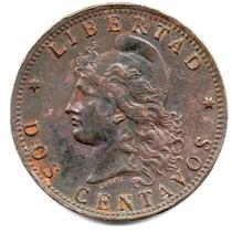 Moneda Argentina 2 Centavos De Patacón Año 1896.muy Difícil