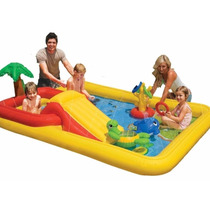 Centro De Juegos Inflable Intex + Inflador Intex De Regalo