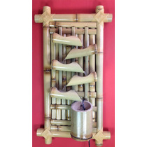 Fonte Agua Decorativa Bambu Parede 5 Bicas C/ Iluminação.ret