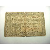 Estados Unidos Antigüo Billete De 12 Chelines De 1777