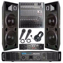 Bafle Columna 1000w X 2+ Mixer 12ch+ Potencia 1200w+mic+auri